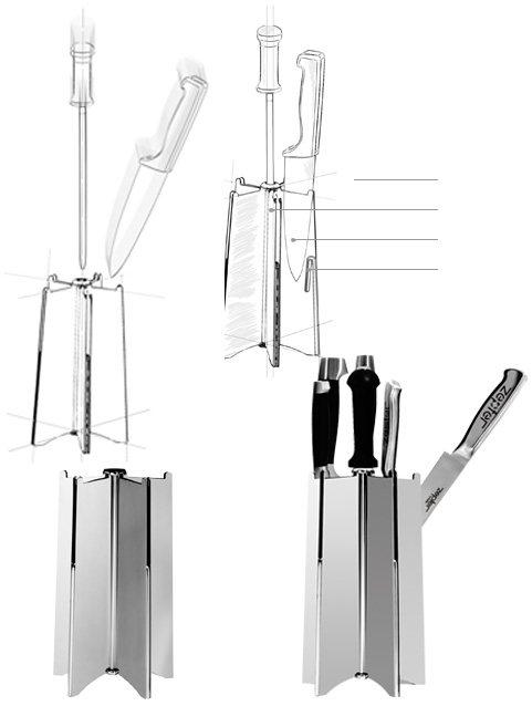 Store your knives safely in this specially designed stainless steel stand.