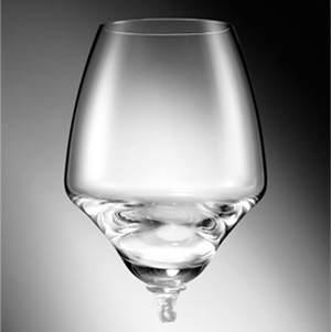 A crystal glass goblet attaches to a stainless steel base with a simple click thanks to the sophisticated lock-on mechanism, patented worldwide by Zepter.